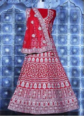Red Mehndi Lehenga Choli