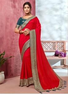 Red Mehndi Traditional Saree