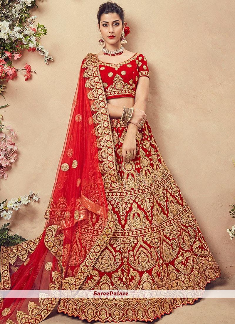2268fc0edf28a Buy Red Mehndi Velvet Designer Lehenga Choli Online