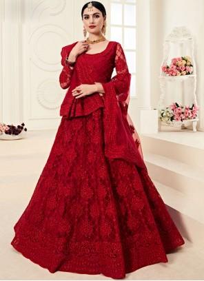 Red Net Bridal Designer A Line Lehenga Choli