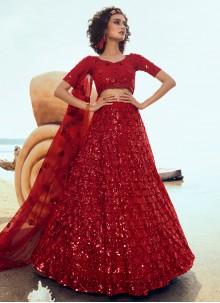Red Net Ceremonial Designer Lehenga Choli