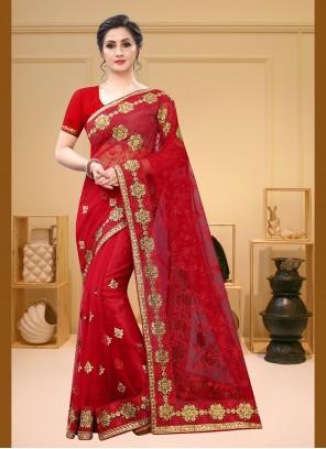 Red Net Contemporary Saree