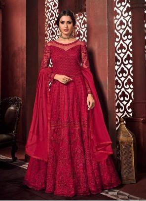 Red Net Mehndi Floor Length Anarkali Suit