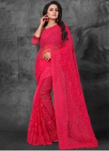 Red Net Resham Classic Saree