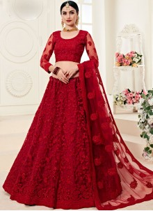 Red Net Trendy A Line Lehenga Choli