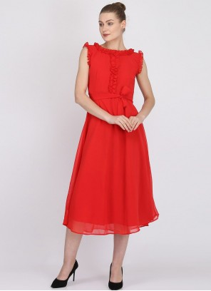 Red Party Casual Kurti