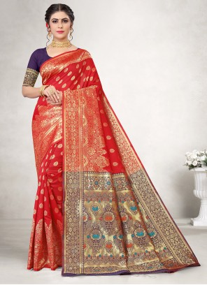 Red Party Jacquard Silk Casual Saree