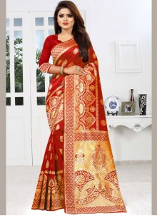 Red Party Classic Saree