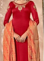 Red Party Designer Palazzo Suit