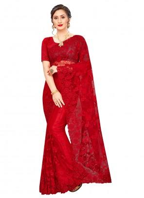 Red Party Net Classic Designer Saree