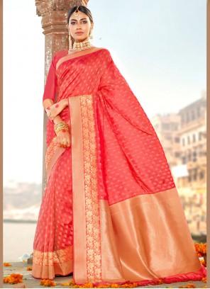 Red Party Silk Designer Saree