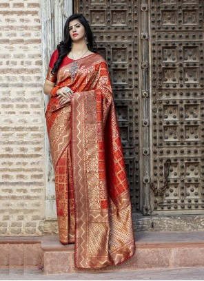 Red Party Banarasi Silk Saree
