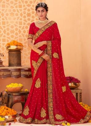 Red Patch Border Ceremonial Classic Designer Saree