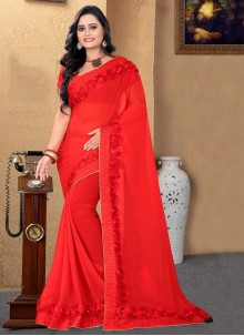 Red Patch Border Designer Saree