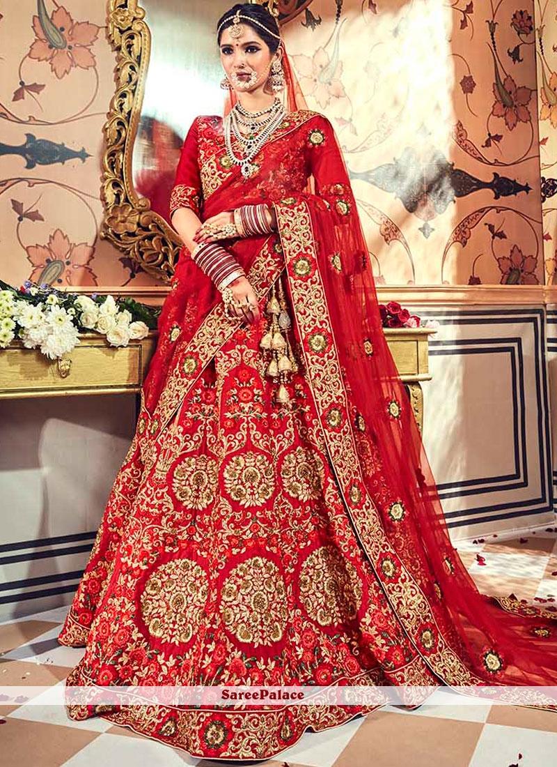 d45eb55fed Buy Red Patch Border Fancy Fabric Lehenga Choli Online