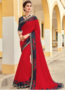Red Patch Border Festival Traditional Designer Saree