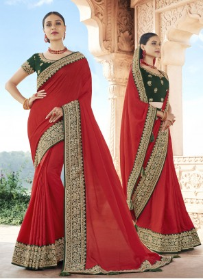 Red Patch Border Silk Traditional Designer Saree