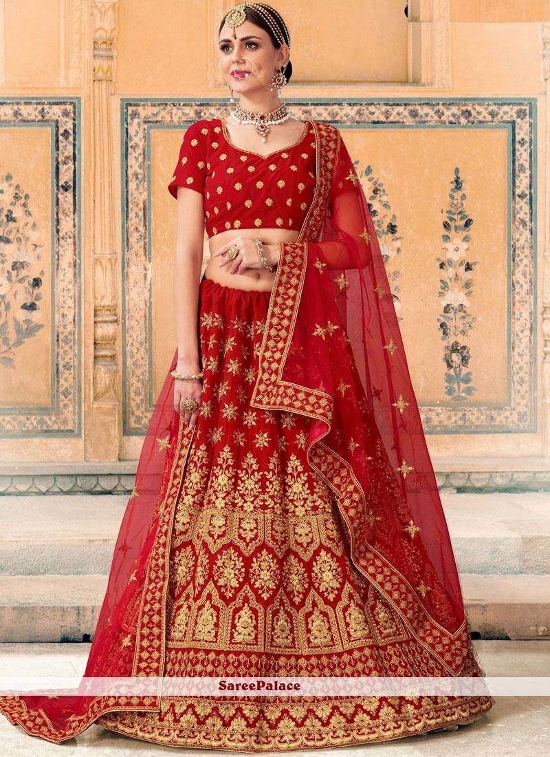 7ee06d93263bd3 Buy Red Patch Border Velvet Lehenga Choli Online