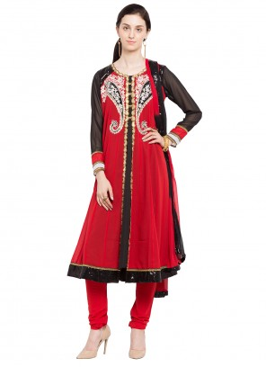 Red Patchwork Party Readymade Anarkali Salwar Suit