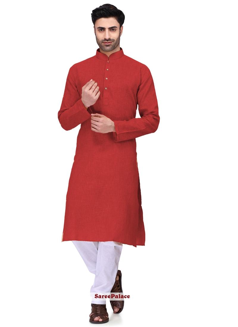 Red Plain Cotton Kurta Pyjama