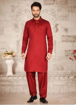 Red Plain Maslin Cotton Kurta Pyjama