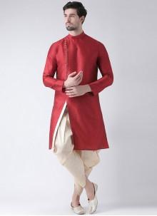 Red Plain Mehndi Dhoti Kurta