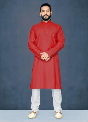 Red Plain Polly Cotton Kurta Pyjama