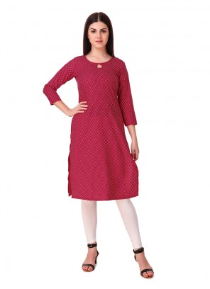 Red Plain Rayon Casual Kurti