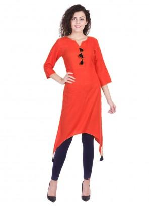 Red Plain Rayon Party Wear Kurti