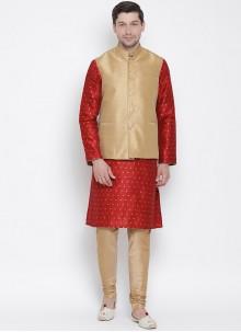 Red Plain Wedding Kurta Payjama With Jacket