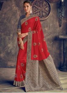 Red Poly Silk Designer Saree
