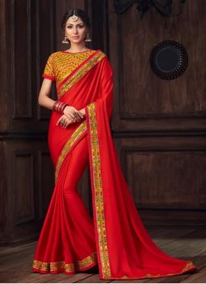 Red Poly Silk Festival Designer Traditional Saree