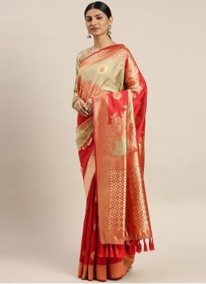 Red Poly Silk Weaving Traditional Designer Saree