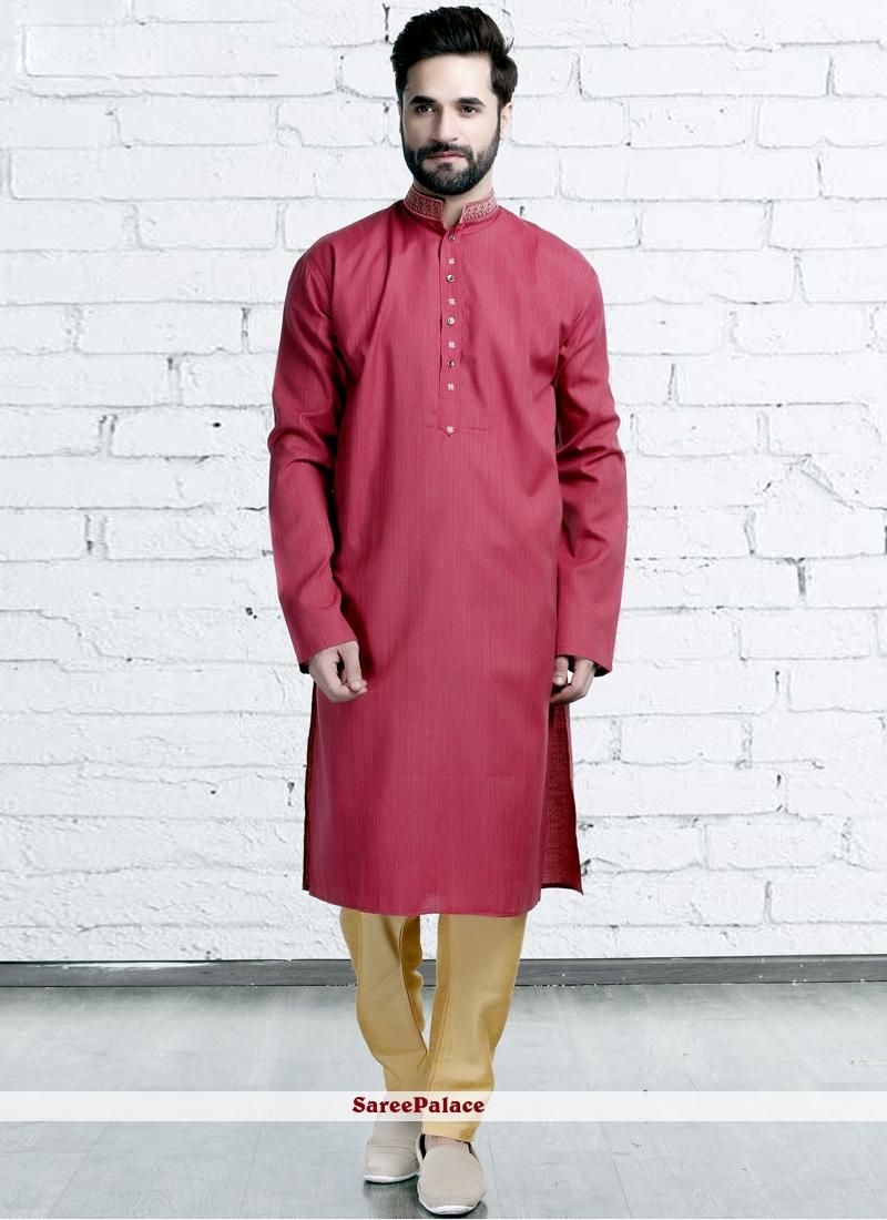 Red Polyester Party Kurta Pyjama