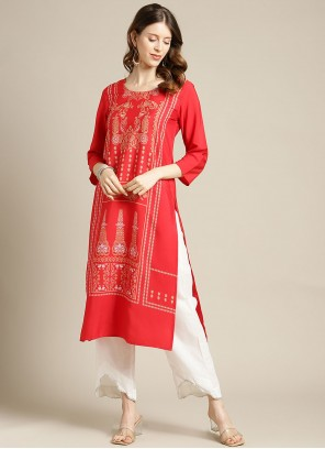 Red Print Blended Cotton Party Wear Kurti