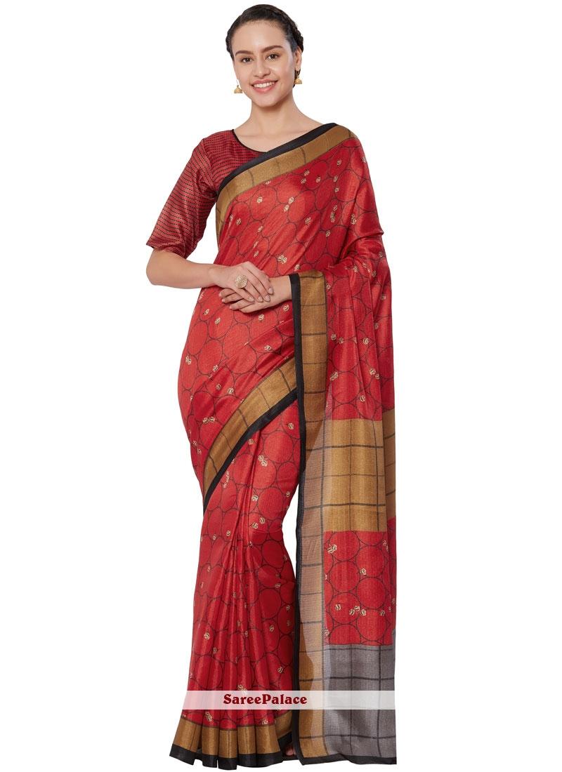 Red Print Casual Saree