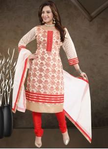 Red Print Churidar Salwar Kameez