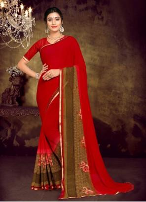 Red Casual Printed Saree