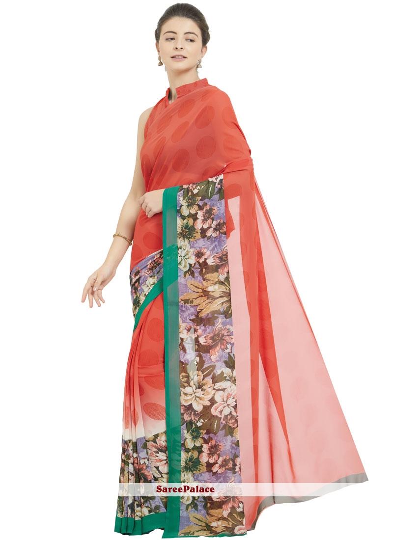 Red Printed Casual Saree