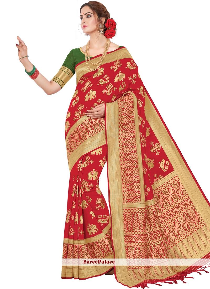 Red Printed Classic Saree