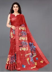 Red Printed Cotton Bollywood Saree