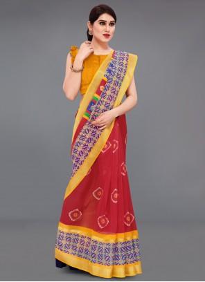 Red Printed Cotton Saree