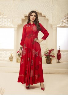 Red Printed Designer Gown