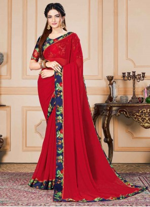 Red Printed Faux Chiffon Traditional Saree