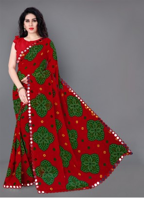 Red Printed Faux Georgette Classic Saree