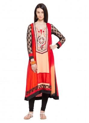 Red Printed Faux Georgette Readymade Salwar Kameez