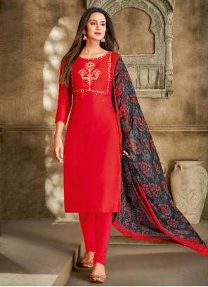 Red Printed Festival Churidar Salwar Suit