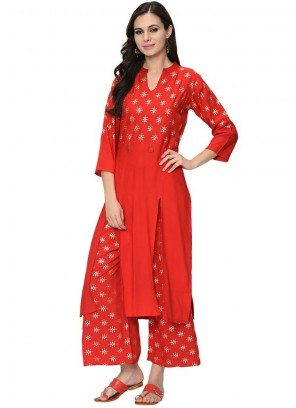 Red Printed Party Casual Kurti