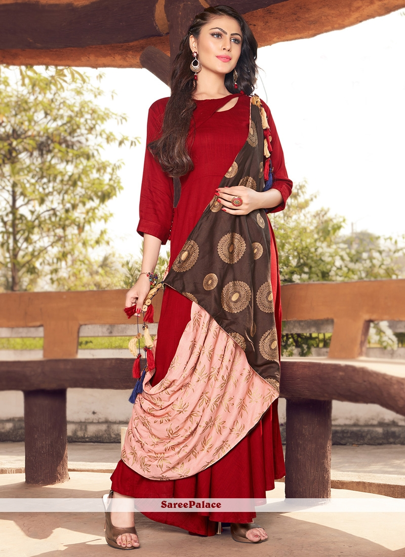 Red Printed Work Rayon Cotton Party Wear Kurti