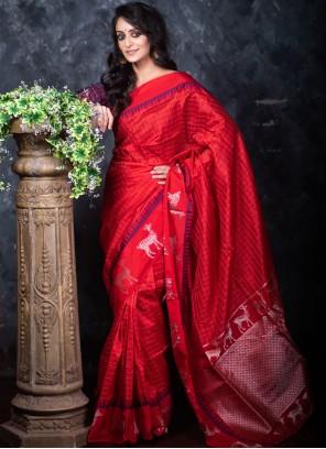 Red Raw Silk Classic Designer Saree